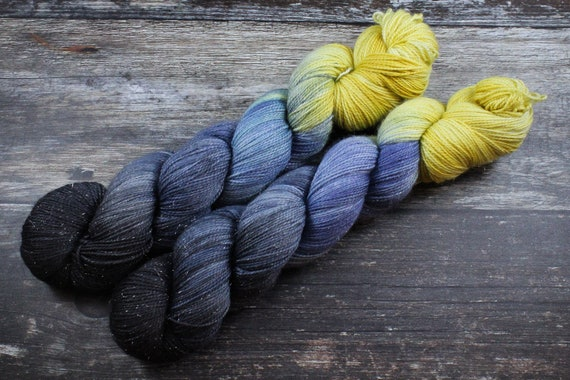 Hand Dyed Sparkle Sock Yarn - Starry Skies