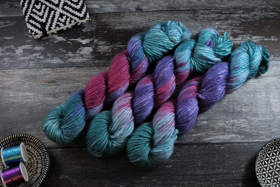 Hand Dyed Chunky Yarn, Merino, Nylon - Digital Bath