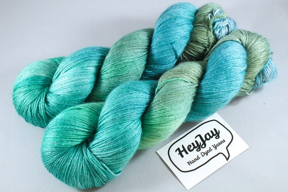 Plus Size Skein, Hand Dyed Sock Yarn 4ply, 150g/600m, BFL and Silk - Green Jay