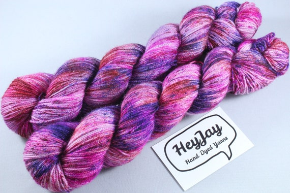 Hand Dyed Sparkle Merino Yarn - Power