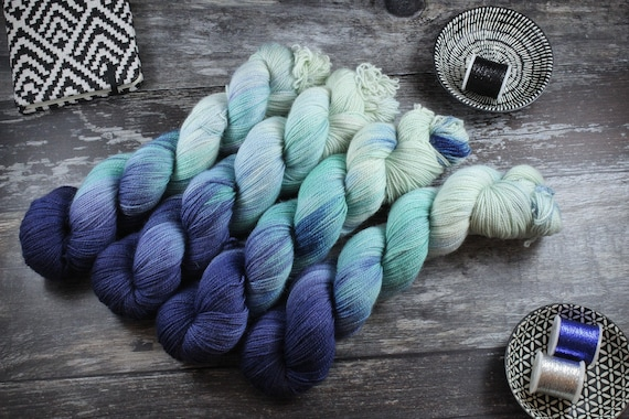 Hand Dyed Ultimate Sock Yarn, BFL High Twist - Submerge