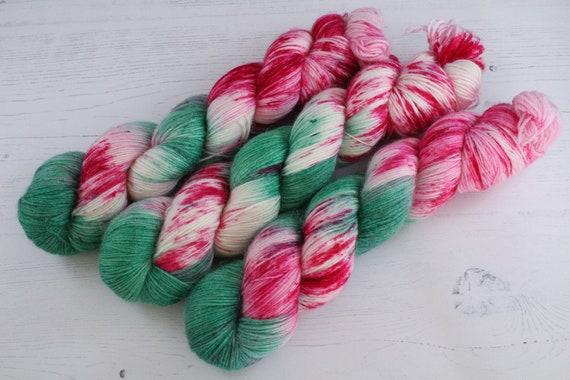 Hand Dyed Alpaca/Merino/Nylon Sock Yarn - It's raining punk