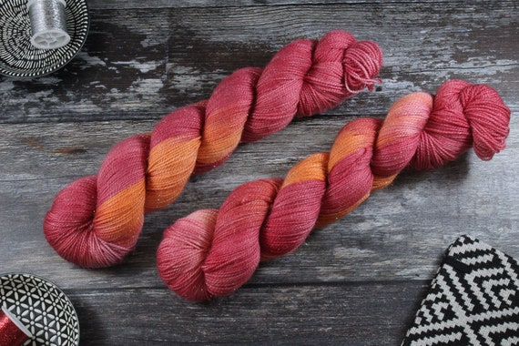Hand Dyed Sparkle Sock Yarn - Hot Tomale