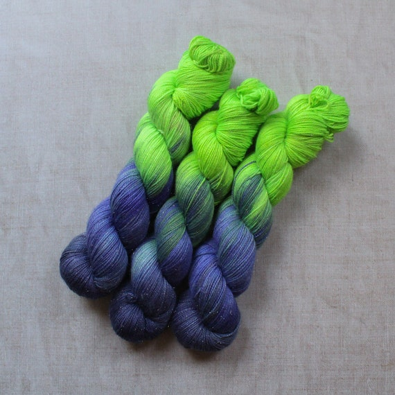 Hand Dyed Sparkle Sock Yarn - Beat The Clock