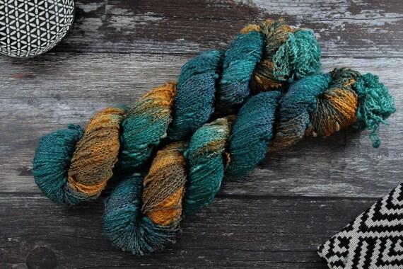 Hand Dyed Yarn, Slub Yarn, Merino, Nylon - Kingfisher