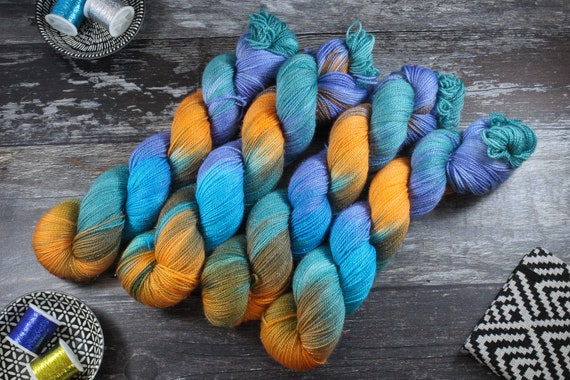 Hand Dyed Sparkle Sock Yarn - Kingfisher Spring
