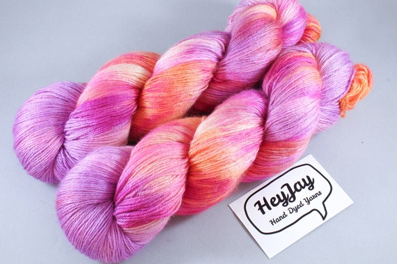 Plus Size Skein, Hand Dyed Sock Yarn 4ply, 150g/600m, BFL and Silk - Neon Rose