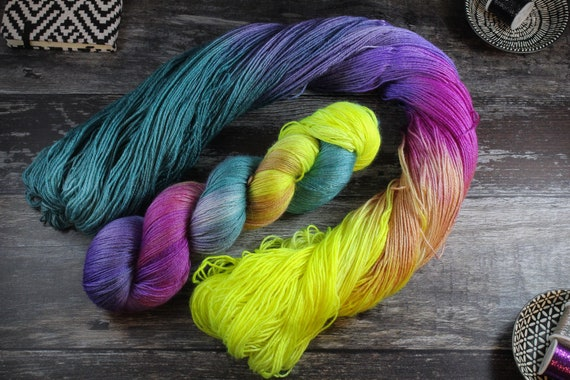 Hand Dyed Sock Yarn, 4ply, Plus Size Skein, 150g/600m, BFL and Silk - Rainbow Way