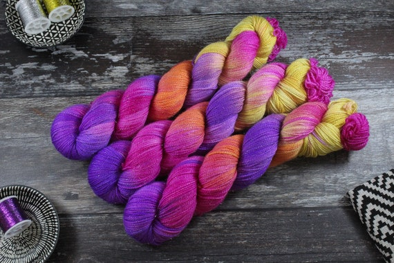 Hand Dyed Sparkle Sock Yarn - Pansie
