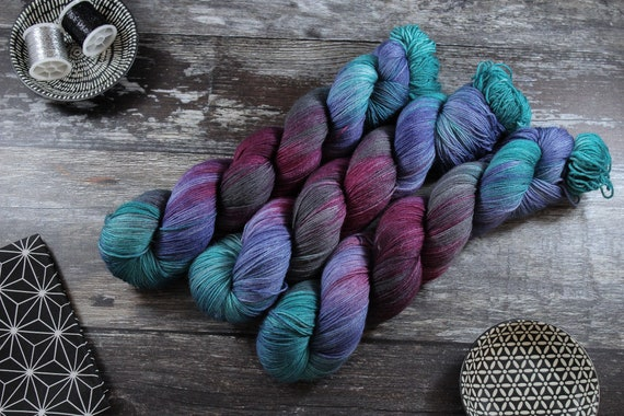 Hand Dyed Sock Yarn Superwash Merino/Nylon - Moody Hues