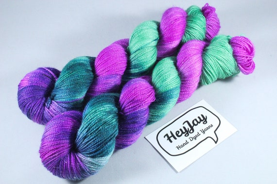Hand Dyed Sparkle Merino Sock Yarn - Cherry Tree
