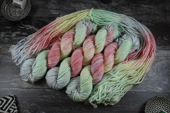 REDUCDED Hand Dyed Chunky Yarn, Merino, Nylon - Unicorn Cloud