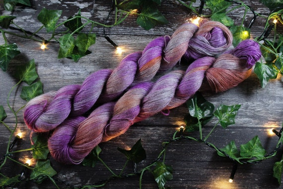 Hand Dyed Planty Yarn, Vegan Yarn, Plant Yarn, Natural Fibres, Plant Based Yarn, 4ply Yarn, Fingering Weight Yarn - Clematis
