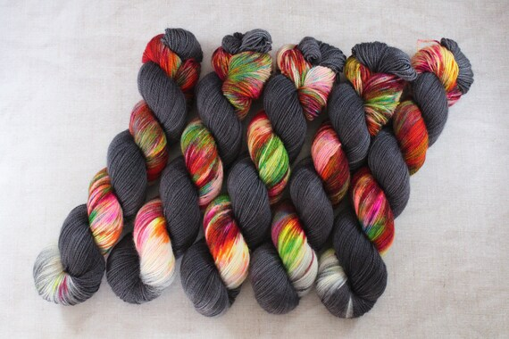 Hand Dyed Ultimate Sock Yarn, BFL High Twist, Micro Self Striping Yarn - O RLY