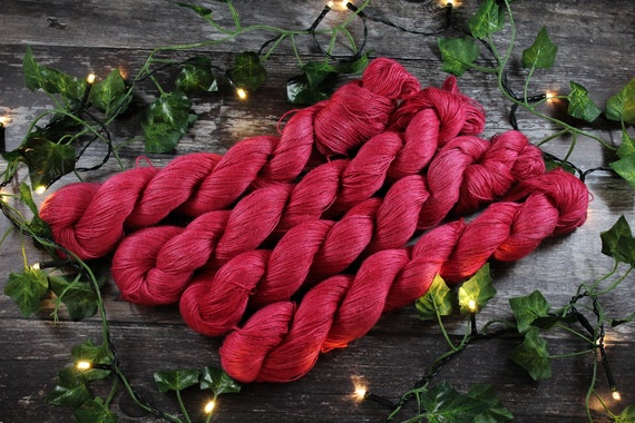 Hand Dyed Planty Yarn, Vegan Yarn, Plant Yarn, Natural Fibres, Plant Based Yarn, 4ply Yarn, Fingering Weight Yarn - Red Tulip