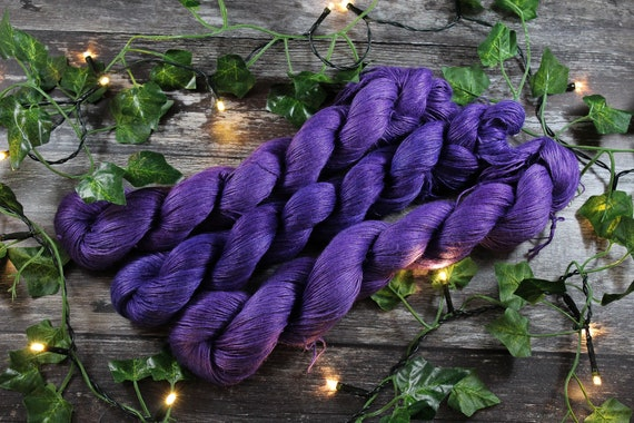 Hand Dyed Planty Yarn, Vegan Yarn, Plant Yarn, Natural Fibres, Plant Based Yarn, 4ply Yarn, Fingering Weight Yarn - Ultraviolet
