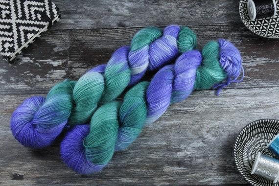 Hand Dyed Sock Yarn, Merino, Alpaca, Nylon Blend - Trident