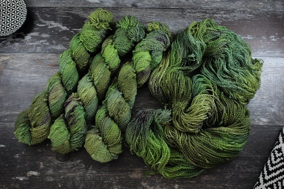 Hand Dyed Yarn, Slub Yarn, Merino, Nylon - Gimme That Pickle