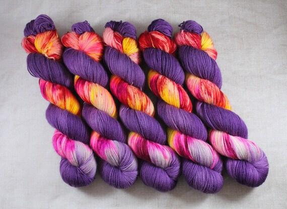 Hand Dyed Ultimate Sock Yarn, BFL High Twist, Micro Self Striping Yarn - Phoenix Rising
