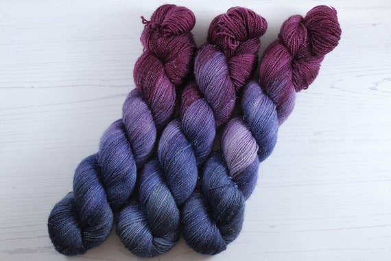 Hand Dyed Sparkle Sock Yarn - Cave Dweller