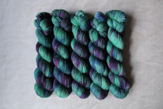 Hand Dyed Sparkle Sock Yarn - Woodland Walk