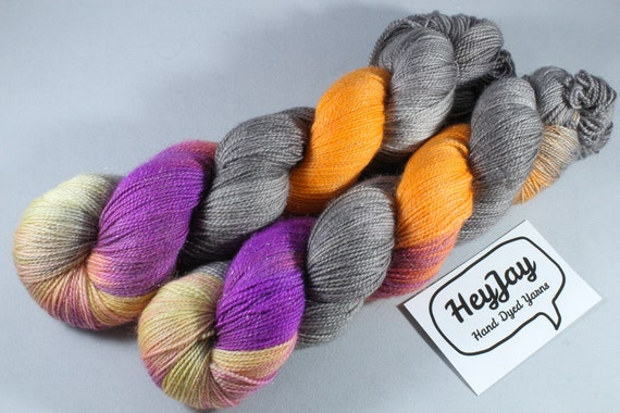 Hand Dyed Sparkle Sock Yarn - Sunset Stripe