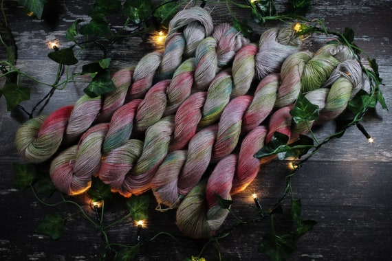 Hand Dyed Planty Yarn, Vegan Yarn, Plant Yarn, Natural Fibres, Plant Based Yarn, 4ply Yarn, Fingering Weight Yarn - Poppy Field