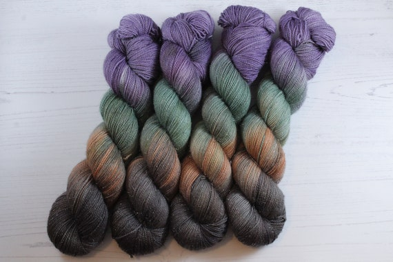 Hand Dyed Sparkle Sock Yarn - Camo