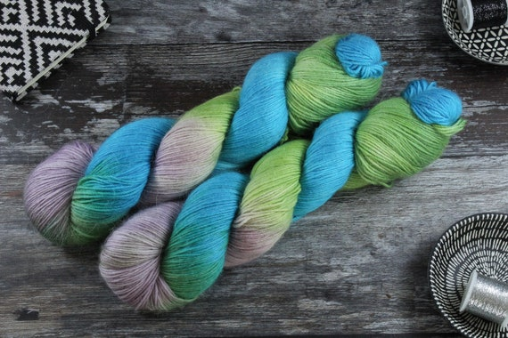 Hand Dyed Sock Yarn Merino, Alpaca, Nylon Blend - Waterside Picnic