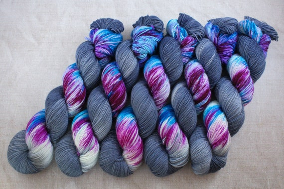 Hand Dyed Ultimate Sock Yarn, BFL High Twist, Micro Self Striping Yarn - Be a Mermaid