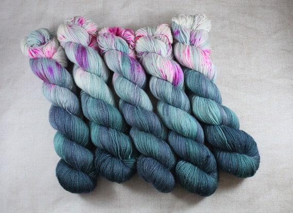 Hand Dyed Sparkle Sock Yarn - Sugar Dip