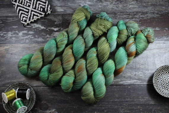 Hand Dyed Sparkle Sock Yarn - Seabed