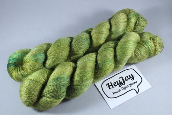 Hand Dyed Lace Merino/Silk Yarn - Grasshopper