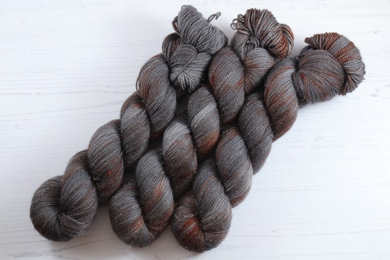 Hand Dyed Sparkle Sock Yarn - Rustbucket