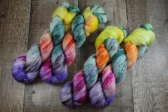 Hand Dyed Sock Yarn, 4ply, Plus Size Skein, 150g/600m, BFL and Silk - Punky Rainbow