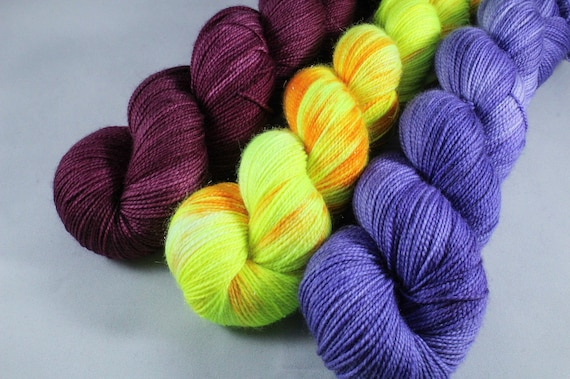 Voltage Shawl Kit, Yarn and Pattern, Superwash Merino/Nylon and Sparkle Merino, Sock, 4ply, Hand Dyed Yarn