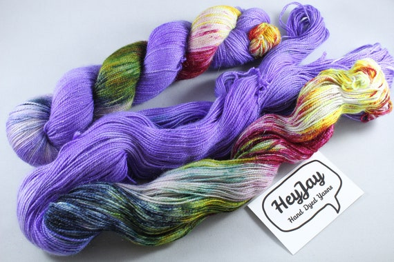 Hand Dyed Sparkle Merino Sock Yarn - Alien