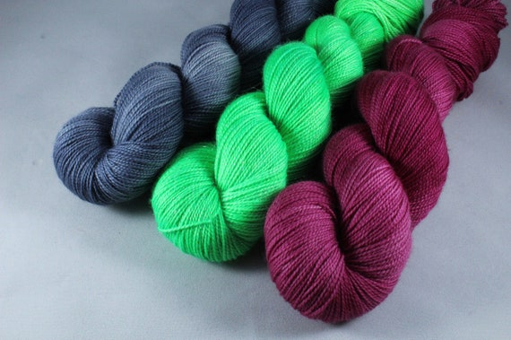 SALE ITEM - Voltage Shawl Kit, Yarn and Pattern, Superwash Merino/Nylon and Sparkle Merino, Sock, 4ply, Hand Dyed Yarn