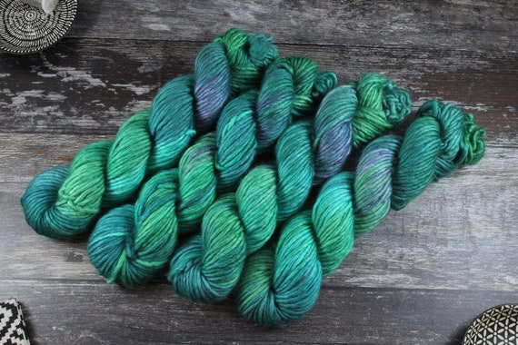 Hand Dyed Chunky Yarn, Merino, Nylon - Emerald Lake