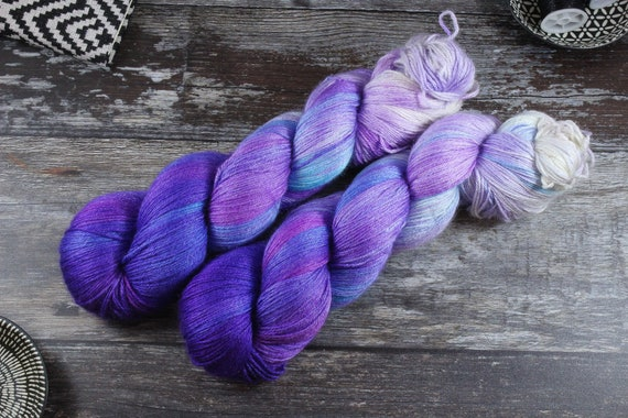 Hand Dyed Sock Yarn, 4ply, Plus Size Skein, 150g/600m, BFL and Silk - Polar Midnight