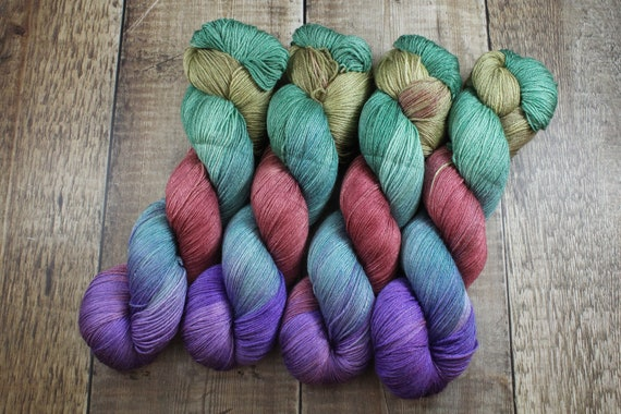 Hand Dyed Sock Yarn, 4ply, Plus Size Skein, 150g/600m, BFL and Silk - Moody Hues