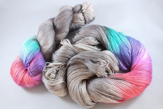Plus Size Skein, Hand Dyed Sock Yarn 4ply, 150g/600m, BFL and Silk - Chrome Disco