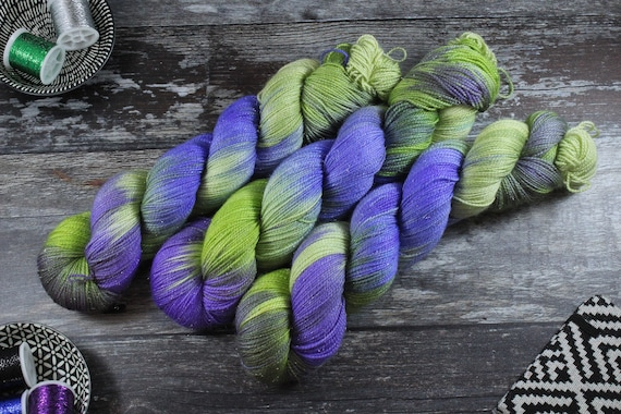 Hand Dyed Sparkle Sock Yarn - Northern Lights