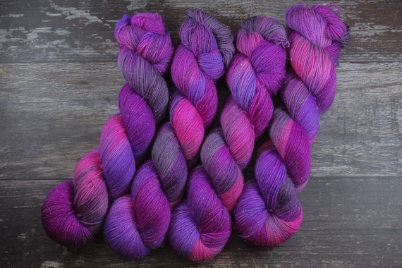 Hand Dyed Sparkle Sock Yarn - Galentine