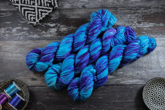 Hand Dyed Chunky Yarn, Merino, Nylon - Mermaid