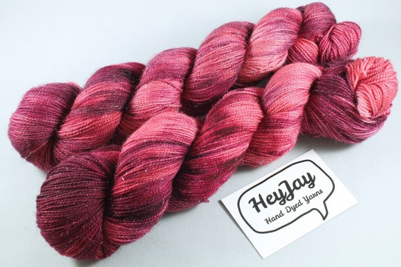 Hand Dyed Sparkle Merino Sock Yarn - Hoebag Rouge