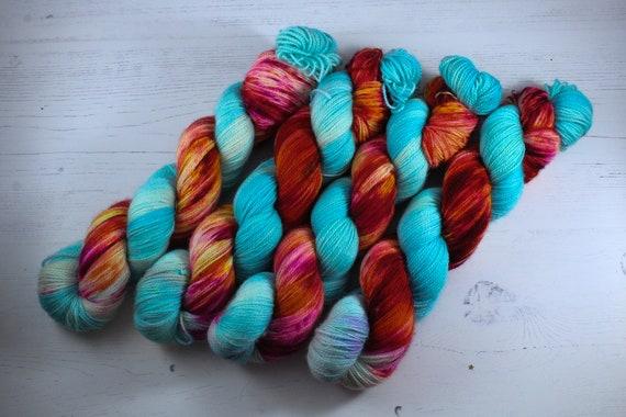 Hand Dyed Ultimate Sock Yarn, BFL High Twist, Micro Self Striping Yarn - Neon Orchid