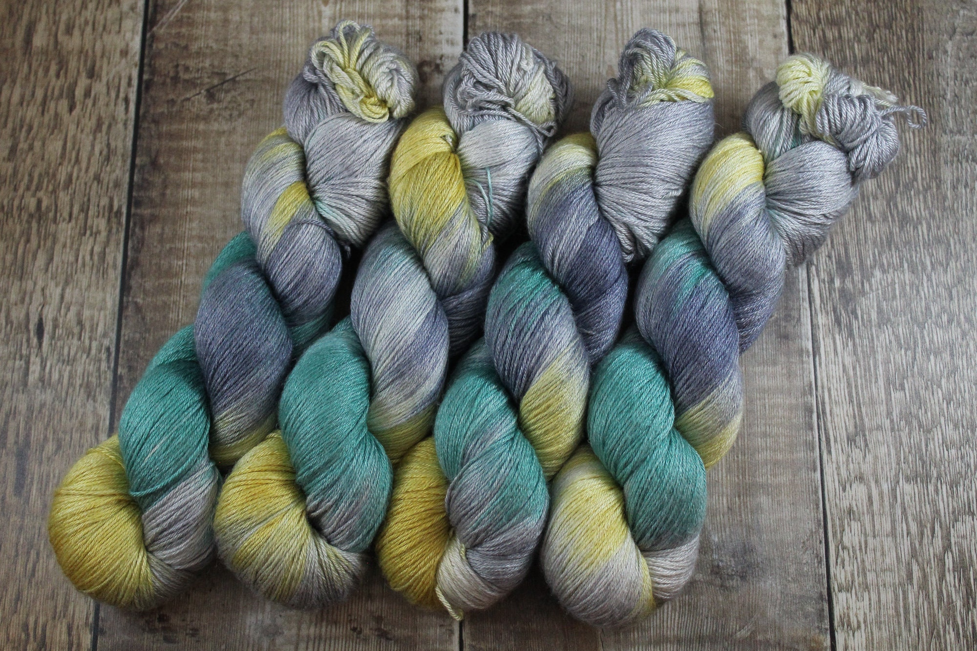 Hand Dyed Tonal  8020 Sock Yarn Mermaid Hair Full Hank Ready to Ship