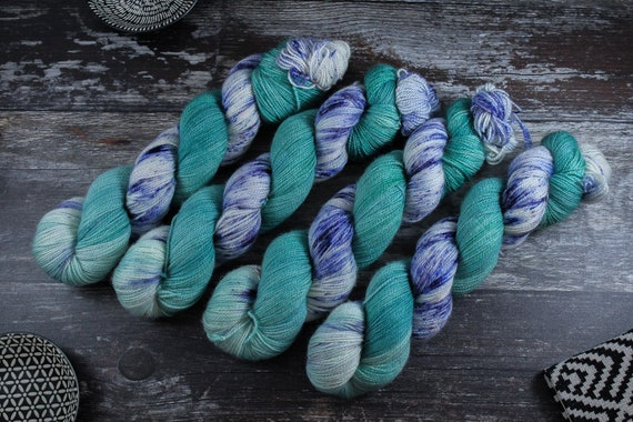 Hand Dyed Ultimate Sock Yarn, BFL High Twist, Micro Self Striping Yarn - Nessy