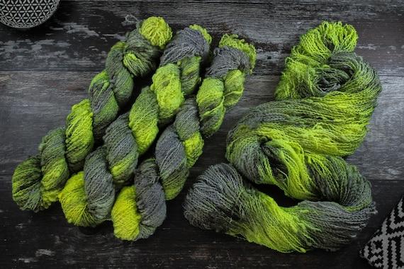 Hand Dyed Yarn, Slub Yarn, Merino, Nylon - Nuclear Waste